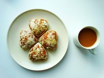 Breakfast with coffee and cookies. Breakfast with coffee and cookies food benefit Stock Image