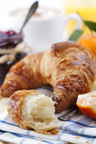 Breakfast with coffee and croissant Royalty Free Stock Photos