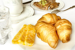 Breakfast of coffee with croissant. Tasty breakfast of coffee with croissant Royalty Free Stock Photography