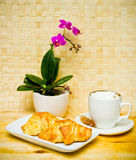 Breakfast Coffee and croissant. Breakfast Coffee and french croissants Royalty Free Stock Photo