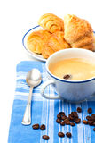 Breakfast with coffee and croissant. On white background Royalty Free Stock Photos