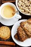 Breakfast with Coffee,Croissant and Crunchy Musli Stock Photography