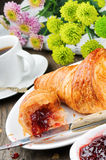 Breakfast with coffee, croissant and jam Royalty Free Stock Photo