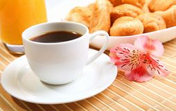Breakfast coffee and croissants Stock Photography