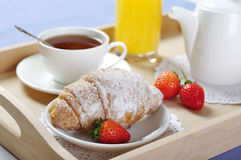 Breakfast with coffee and croissants Stock Image