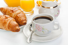 Breakfast with coffee and croissants Royalty Free Stock Photos
