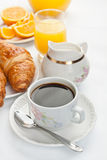 Breakfast with coffee and croissants Stock Photography