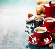 Breakfast with coffee, croissants and berries Stock Photos