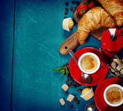 Breakfast with coffee, croissants and berries Stock Images