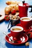 Breakfast with coffee, croissants and berries Royalty Free Stock Photography