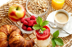 Breakfast with coffee, croissants, orange juice Royalty Free Stock Photos