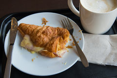 Breakfast with coffee and croissants Royalty Free Stock Photo