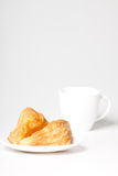 Breakfast with coffee and croissants Royalty Free Stock Image