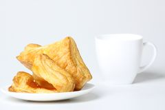 Breakfast with coffee and croissants Stock Images