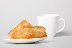 Breakfast with coffee and croissants Stock Photo