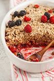 Breakfast with coffee and crumble pie, white background, healthy. Breakfast concept. Vegan berry dessert stock photo