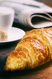 Breakfast with coffee cup and croissant Stock Image