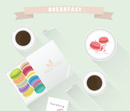 Breakfast. Coffee cup, macaroons and cake are in the set. Vector illustration. Breakfast. Coffee cup, macaroons and cake are in the set.Vector illustration Stock Photography