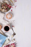 Breakfast with coffee and dessert, above. Background layout with free text space. Stock Image