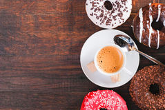 Breakfast. With coffee  donats and croissants Royalty Free Stock Photos