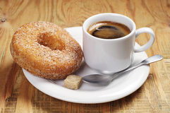 Breakfast with coffee and donut Stock Image
