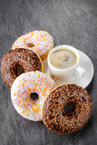 Breakfast with coffee and donuts Royalty Free Stock Image