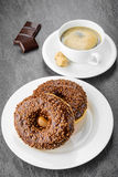 Breakfast with coffee and donuts Royalty Free Stock Photos