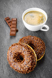 Breakfast with coffee and donuts Stock Photography