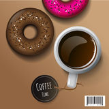 Breakfast - coffee and donuts. vector object file. For menu and template background of artwork design Stock Photography