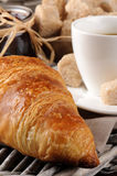 Breakfast with coffee, french croissant and jam. On the wooden background Royalty Free Stock Photography