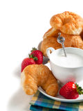 Breakfast with coffee and fresh croissants Stock Photography