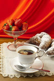 Breakfast with coffee , fresh croissants and strawberries. Royalty Free Stock Photos