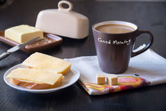 Breakfast with coffee and fresh sandwiches with cheese Royalty Free Stock Photography