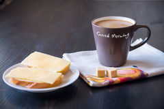 Breakfast with coffee and fresh sandwiches with cheese Royalty Free Stock Image