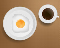 Breakfast with Coffee and Fried Egg Royalty Free Stock Images