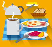 Breakfast with coffee and fried eggs Royalty Free Stock Photos