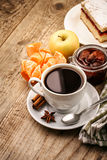 Breakfast with coffee and fruits Royalty Free Stock Photo