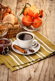 Breakfast with coffee and fruits for good morning Royalty Free Stock Photo