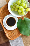 Breakfast, coffee and grapes Stock Images