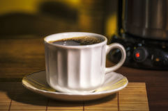Breakfast, coffee. Hot coffee breakfast with masses Royalty Free Stock Photo