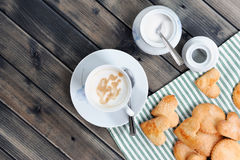 Breakfast coffee with milk and cookies Royalty Free Stock Images