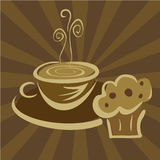 Breakfast coffee and muffin Stock Images