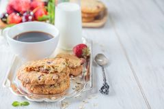 Breakfast with some milk. Breakfast with coffee and oatmeal cookies Stock Image