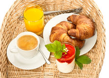 Breakfast with coffee and orange juice Stock Photos
