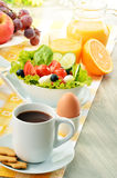 Breakfast with coffee, orange juice, croissant, egg, vegetables Royalty Free Stock Photography
