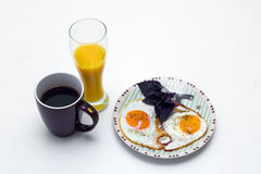 Breakfast with coffee, orange juice and eggs Royalty Free Stock Image