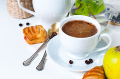 Breakfast, coffee, pastries and fruits Royalty Free Stock Photo