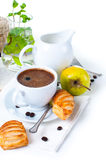 Breakfast, coffee, pastries and fruits Stock Images