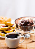 Breakfast with coffee and pie Royalty Free Stock Photography