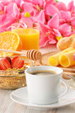 Breakfast with coffee, rolls, egg, orange juice Royalty Free Stock Images